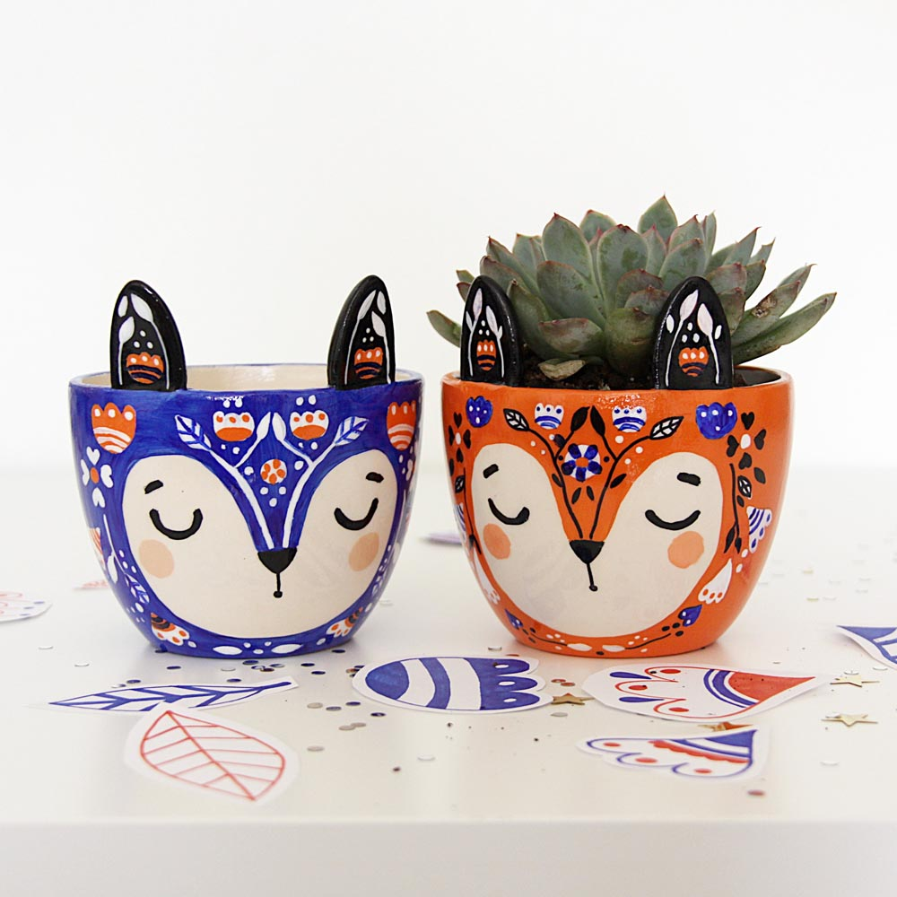 renards pots de fleurs - krafty k design