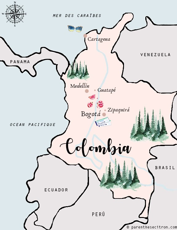 Colombie carte bogota guatapé medellin cartagena