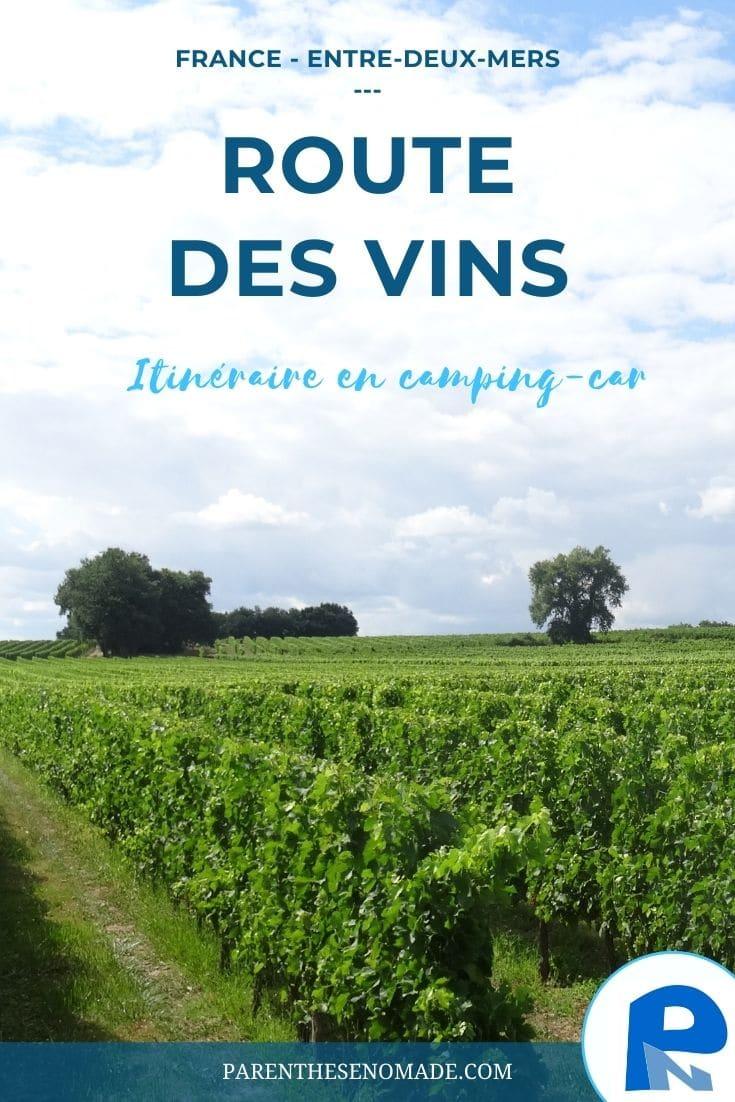 Route des vins de l'Entre-deux-Mers en camping-car