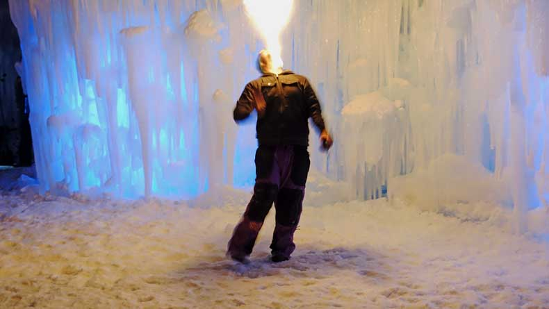 Parenthood and Passports - Ice Castles fire performances