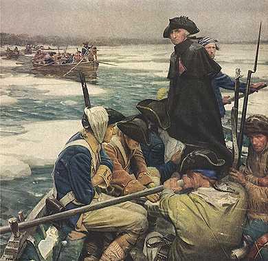 Washington crosses Delaware - vintage art clip