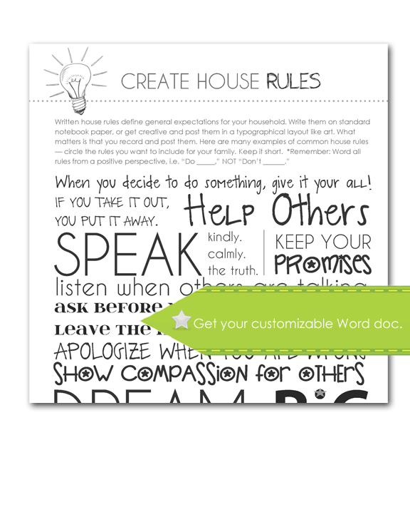 Create House Rules, Customize