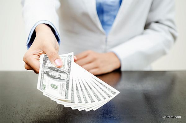 Showing money