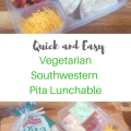 Make a tasty and healthy lunch. Easy and quick Vegetarian Southwestern Pita Lunchable.