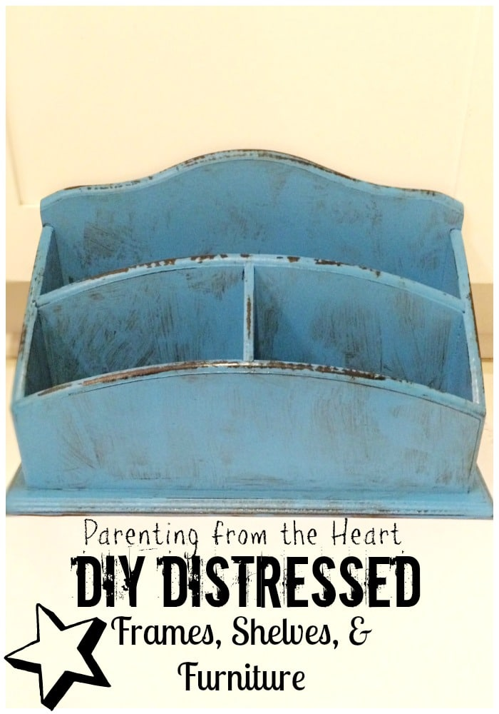 Distress frames, furniture, and shelves easily in three steps