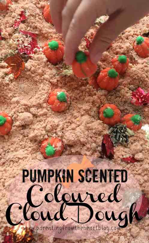 Cloud dough is a great way to engage in sensory play! This is a great fall activity for kids. Plus, it's really easy to make. This coloured cloud dough is also pumpkin scented! It smells amazing and is such a fun sensory experience for toddlers, preschoolers, and all early learners. Great for early childhood education classrooms or at home. Sensory play, play dough, cloud dough, coloured cloud dough, sensory play, learning through play activities.