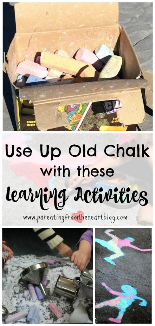 At the end of the summer, we are left with a lot of broken down chalk. Here are 14 learning activities using chalk that include sensory play ideas, kids arts and crafts, STEM, STEAM, and so many more perfect for play-based learning
