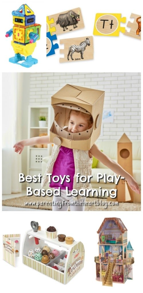 Toys can build or break on the magic of play-based learning. Click here to find the best play-based learning toy ideas. Find STEM toys, toys to promote pretend play, literacy, gross motor and fine motor skills. There is so much learning through play to be had.