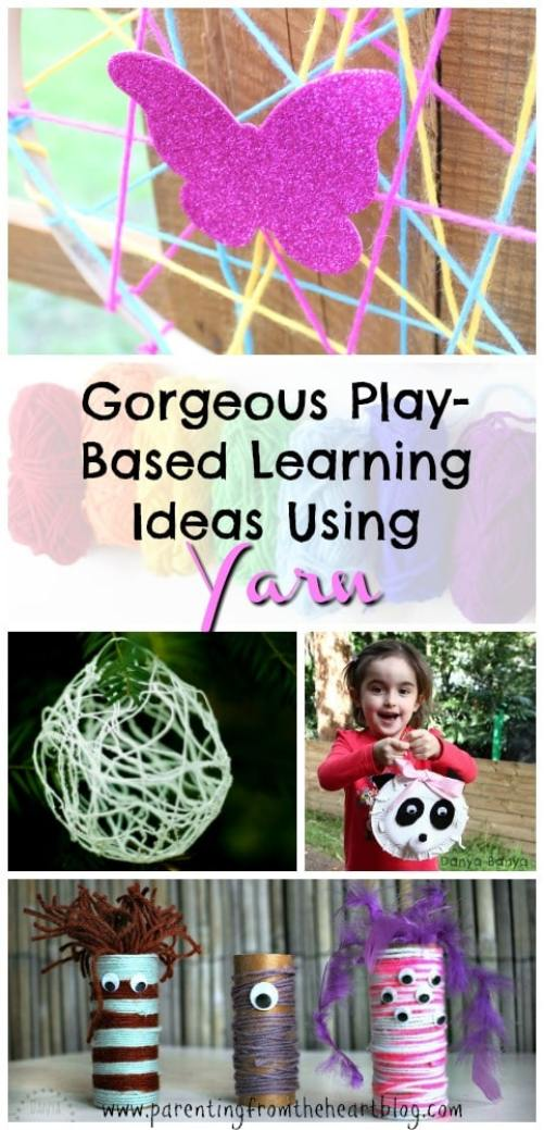 Click here for INCREDIBLE play-based learning ideas using yarn. These ideas are excellent for STEM, fine-motor practice, colour recognition, and so, so much more! Kids activities, learning through play, simple crafts, early childhood education.