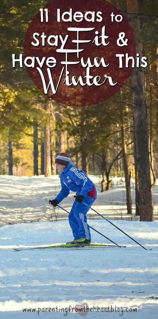 In the winter, it's easy to hunker down and get LAZY. Here are 11 Fun Family Winter Activities to stay fit. Fitness, go play outside, get active as a family, snowshoeing, sledding and more!