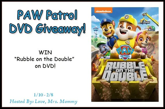 PAW Patrol Rubble On The Double DVD Giveaway