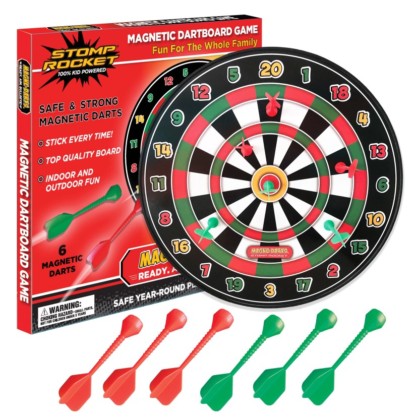 New from Stomp Rocket is the Magne-Darts Dart Board for Kids