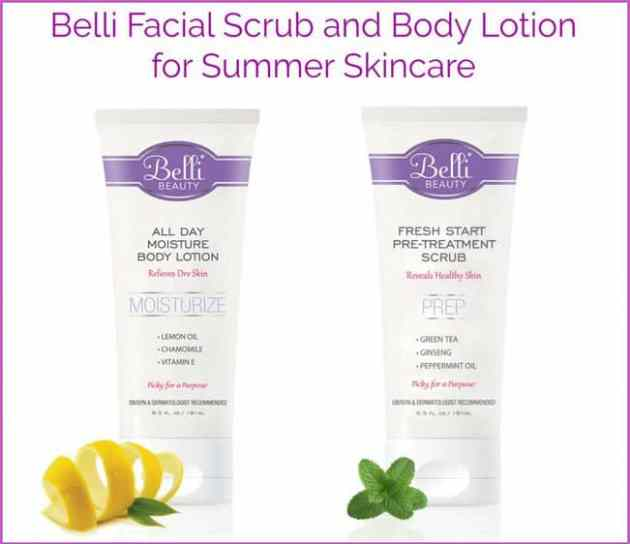 Belli Facial Scrub and Body Lotion for Summer Skincare