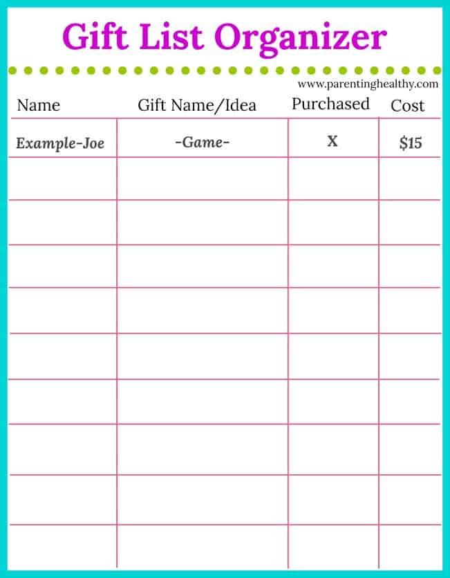 photo regarding Free Printable Organizer named Reward Listing Organizer - Totally free Printable for buying sensible