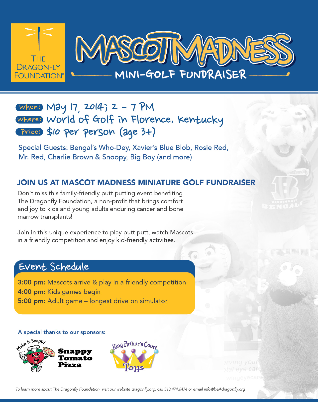 The Dragonfly Foundation: Mascot Madness Mini-Golf Fundraiser May 17, 2014