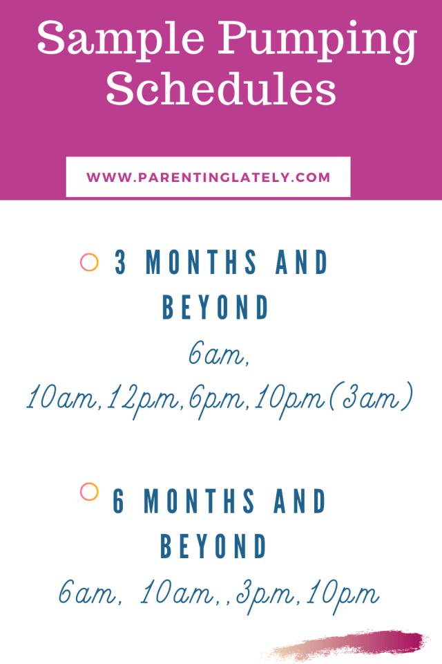 www.parentinglately.com/ sample pumping schedule