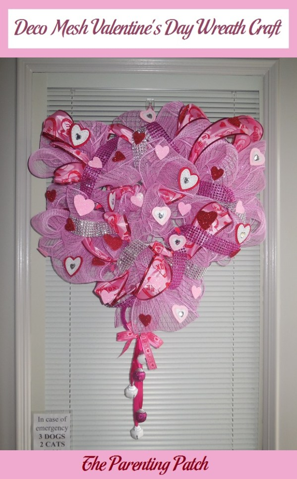Deco Mesh Valentine's Day Wreath Craft | Parenting Patch