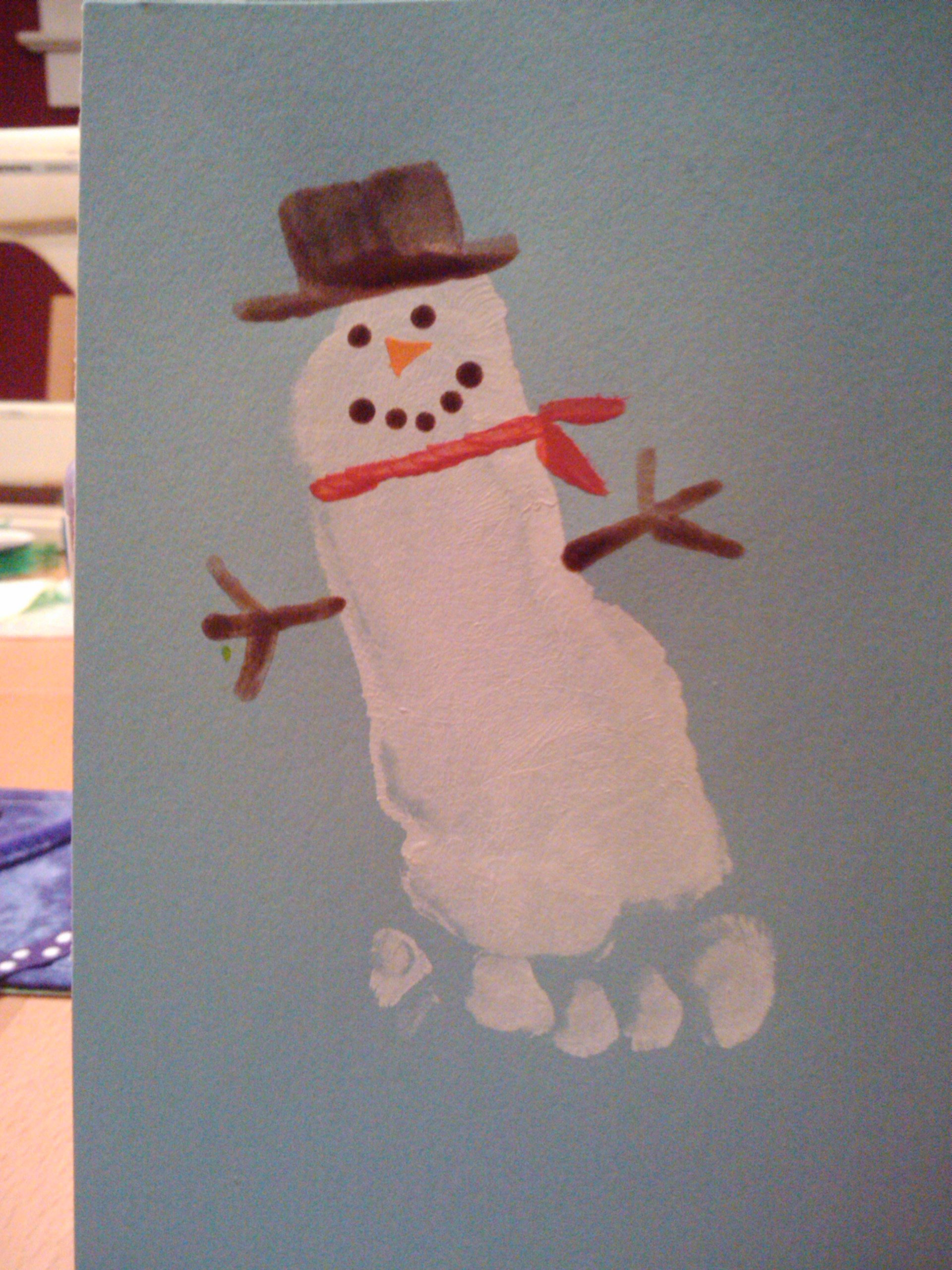 Footprint Snowman Parenting With Crunch