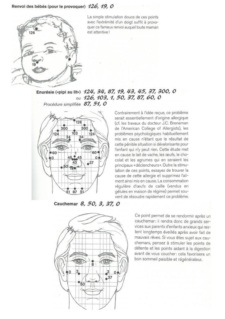 réflexologie faciale bébé énurésie cauchemar