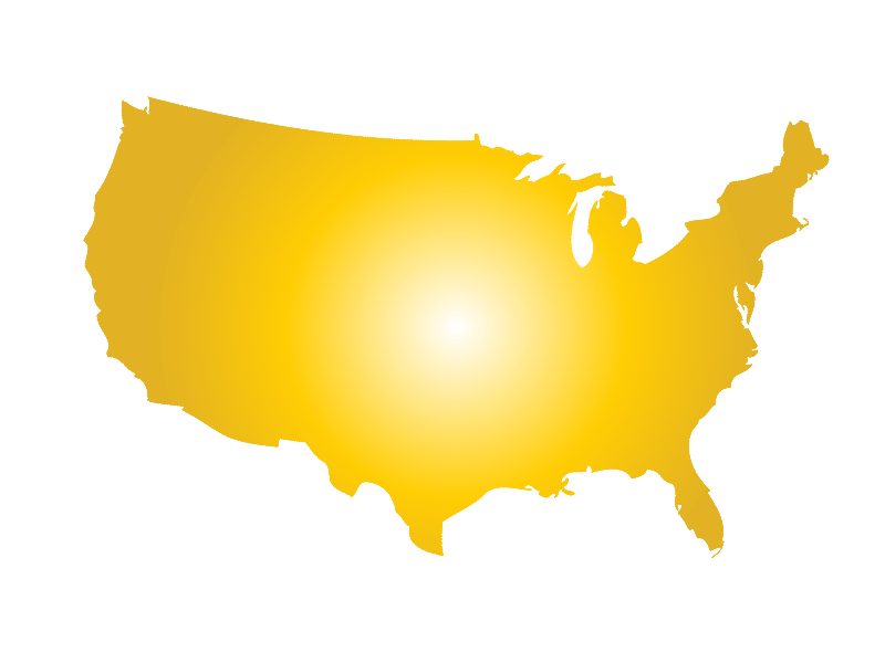 Yellow-gold gradient USA map