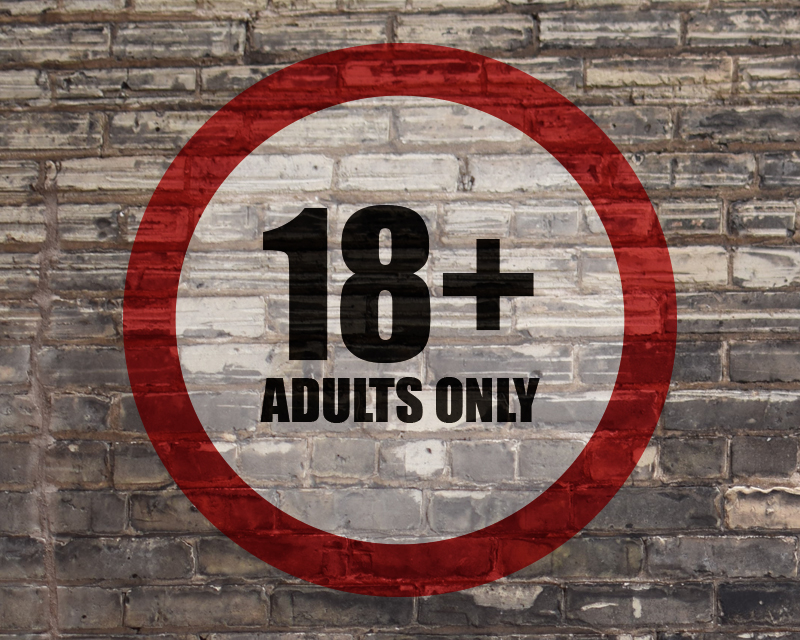 warning sign on a brick wall reading 18+ adult only = meaningful age verification