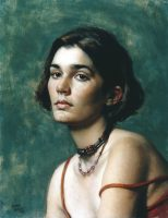 "Daniel Greene, Caroline, 1997, Oil on linen, 22"" x 16"", at the Museum of Art DeLand."