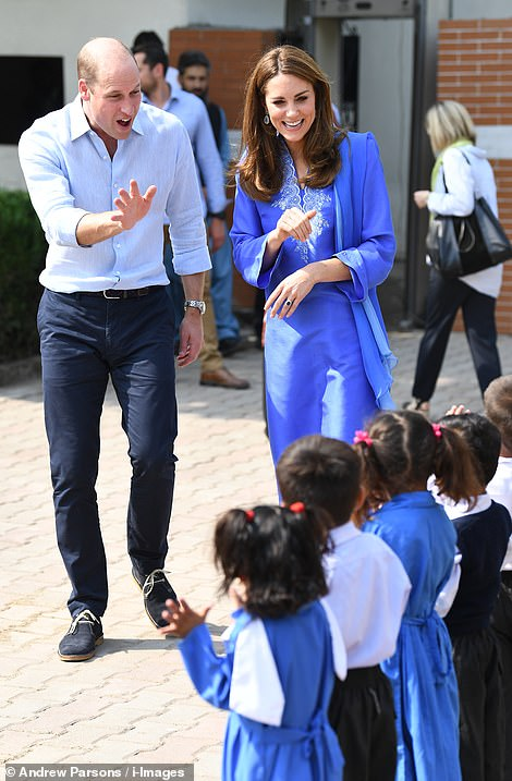 Hi! The Cambridges were delighted to meet children as they lined up to greet them in the playground in Islamabad