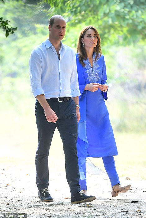 The couple arrive for a visit to Margalla Hills to join children from local schools