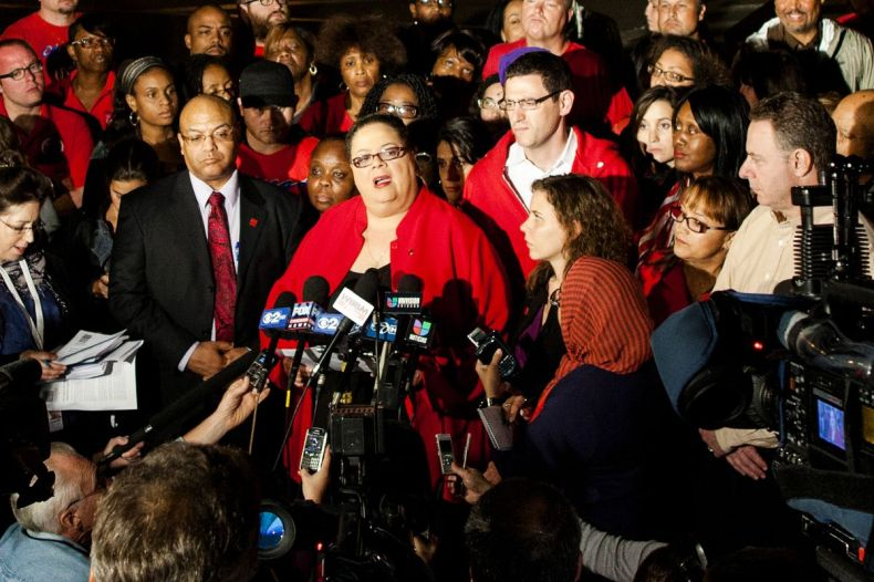 Chicago Teachers Union President Karen Lewis (center) and then-Vice President Jesse Sharkey (right of Lewis) as they announce in 2012 that the city's 25,000 public school teachers would walk the picket line for the first time in 25 years.