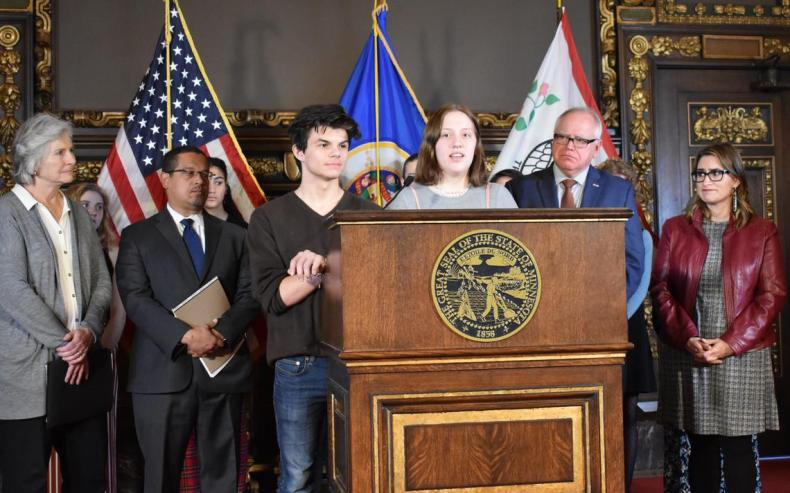Will Gitler and Claire Hering, 17 and 16 respectively, spoke to reporters at the Capitol on Wednesday, Dec. 4, 2019, about their experience using and quitting vaping products. Dana Ferguson / Forum News Service