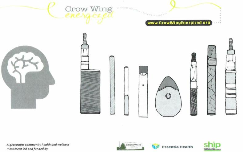 A rendering, courtesy of Crow Wing Energized, shows the various  forms of e-cigarettes and vaping devices, prevalent among middle and high school students. Devices can be made to like like pens, UBS ports, candy tins and other common items for easy concealment.