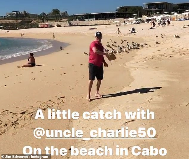 Playing in paradise:The game announcer also posted a playful video of him having a game of catch with current St. Louis Cardinals player Adam Wainwright