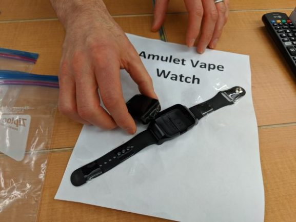 A picture of a vape pen disguised as a watch