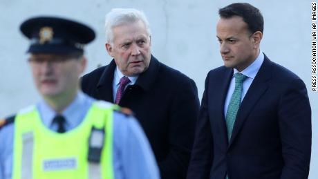 Irish Prime Minister Leo Varadkar, right, with MP Fergus O'Dowd leaving the Drogheda police station on January 17.