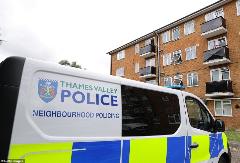 Last night counter-terrorism officers were were called in to help detectives following the attack, which police said at first was not thought to be terrorism-related, and carried out a controlled explosion at the suspect's home address. Pictured: Police outside a property in Basingstoke Road, Reading, yesterday