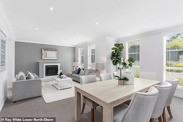 Earlier this year Phelan and Ms Franklin purchased their lavish Frenchs Forest home (living room pictured)