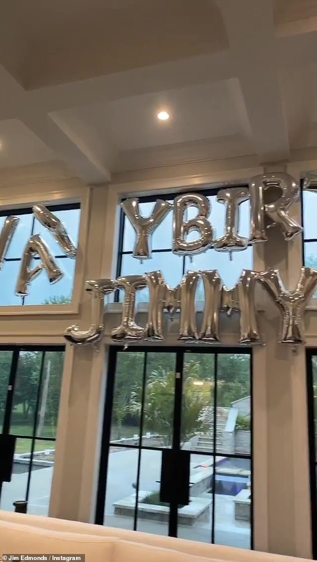 Decorations: Edmonds also shared video of the celebratory balloons
