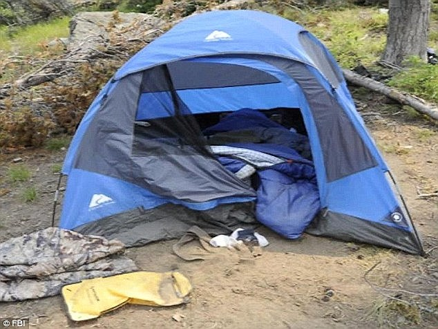 A tent where DiMaggio had been holding Hannah in the Idaho wilderness for six days following the murders of her brother and mom