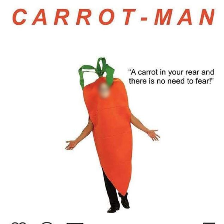 A screenshot of a mock-up photo of a man dressed in a carrot costume