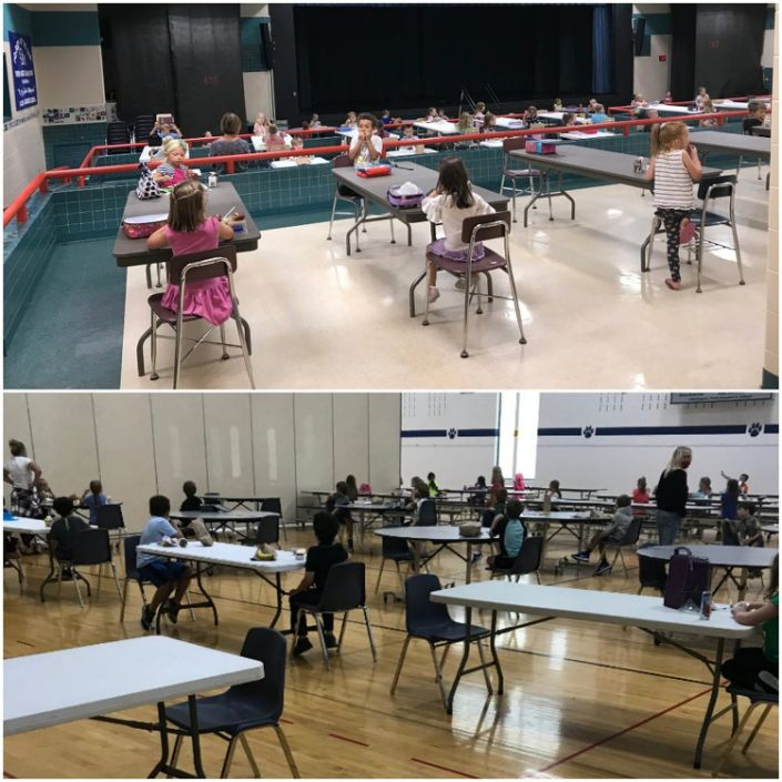Students at Lake Country School are split between the school's cafeteria and gym for lunch depending on grade level.