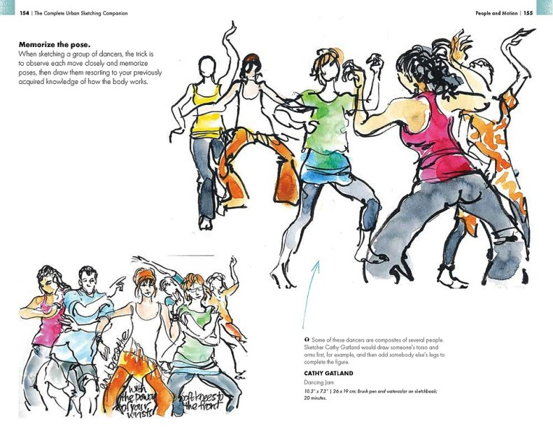 """Advice on capturing the pose is offered by """"The Complete Urban Sketching Companion."""""""