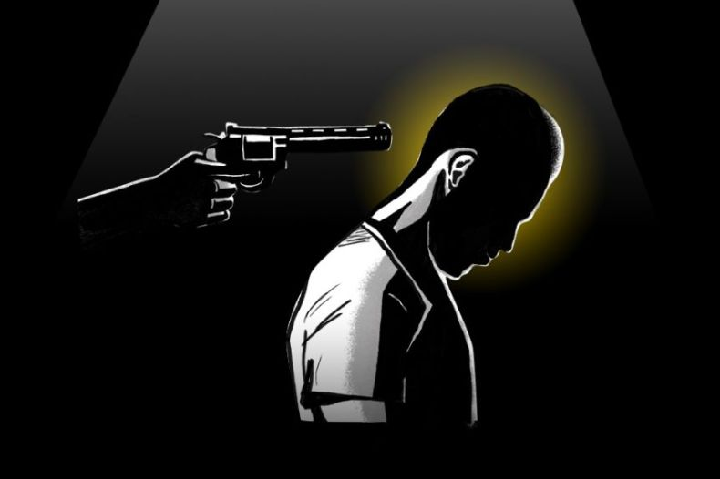 Film noir graphic of man in with gun pointed at head.