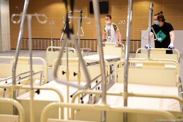 A stadium in Warsaw is being turned into a temporary hospital for Covid-19 patients.