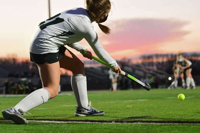 Shenendehowa's Nicolette Morlock hits in the ball during the Suburban Council field hockey final against Burnt Hills on Friday, Nov. 20, 2020 in Clifton Park, N.Y. (Lori Van Buren/Times Union)