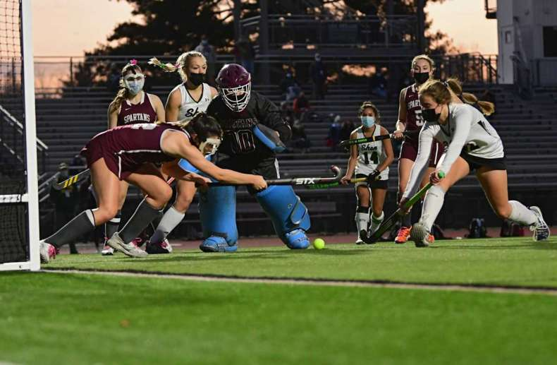 Shenendehowa's Nicolette Morlock, right, tries to score against Burnt Hills in the Suburban Council field hockey final on Friday, Nov. 20, 2020 in Clifton Park, N.Y. (Lori Van Buren/Times Union)