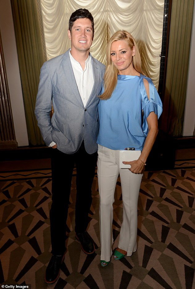 Apology: Vernon was famously forced to make a public apology to Tess on BBC Radio 1 back in 2010 after the saucy messages came to light [Vernon and Tess pictured in 2015]