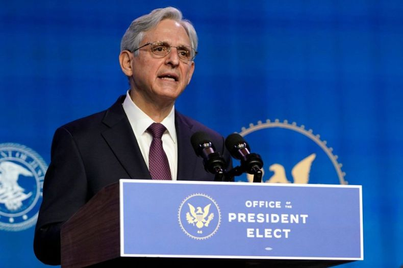 Mandatory Credit: Photo by Susan Walsh/AP/Shutterstock (11698545m)Attorney General nominee Merrick Garland speaks during an event with President-elect Joe Biden and Vice President-elect Kamala Harris at The Queen theater in Wilmington, DelBiden, Wilmington, United States - 07 Jan 2021.