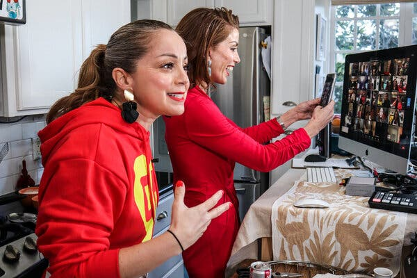 Marcela Valladolid, left, the California chef and media personality, began teaching cooking classes with her sister, Carina Luz, on Zoom. The experience led to a cookbook.