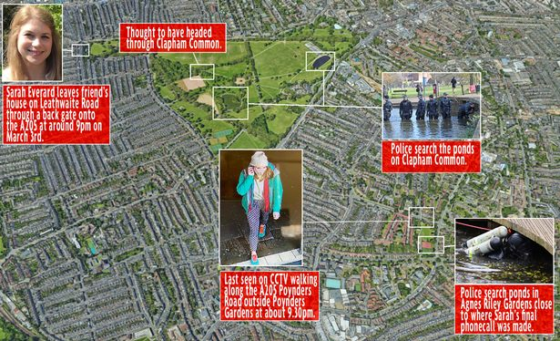 Sarah Everard disappearance timeline map