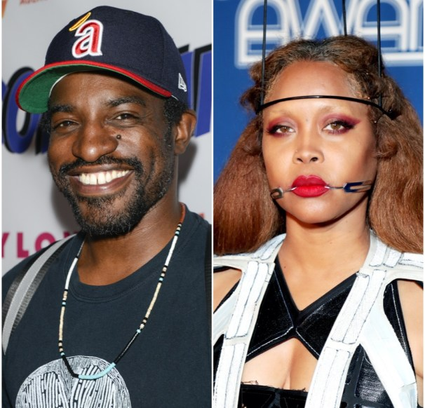 A photo collage of André 3000 and Erykah Badu